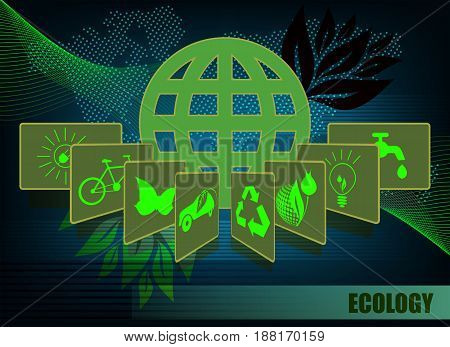 Dark green background with a silhouette of the globe and ecology symbols