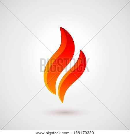 Fire Icon in Flat Style. Illustration for Creative Design Idea