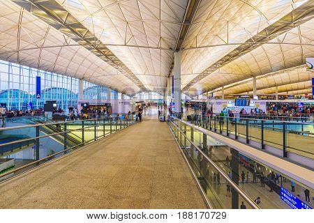 HONG KONG CHINA - APRIL 27: This is the architecture and main entrance interior of the Hong Kong international airport on April 27 2017 in Hong Kong