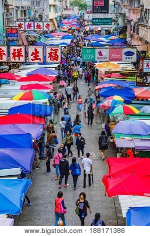 HONG KONG CHINA - APRIL 27: This is a view of Fa Yuen street market a busy local street market which is also popular with tourists on April 27 2017 in Hong Kong