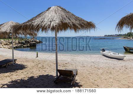 Wooden beach chair in Constanta city on the coast of the Black Sea Romania