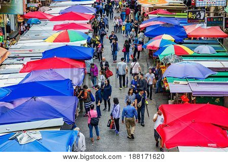HONG KONG CHINA - APRIL 27: This is an aerial view of Fa Yuen street market a busy local street market which is also popular with tourists on April 27 2017 in Hong Kong