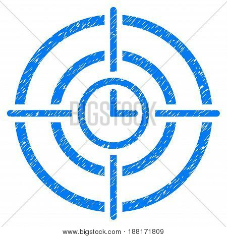 Grunge Time Target icon with grunge design and dirty texture. Unclean vector blue pictogram for rubber seal stamp imitations and watermarks. Draft emblem symbol.