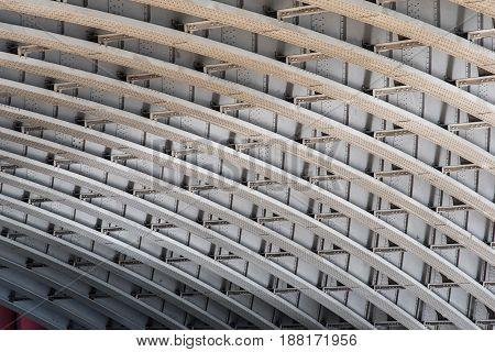 The girder construction under Blackfriars Bridge London UK