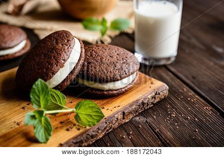 Traditional Chocolate Whoopie Pies Filled With Cream