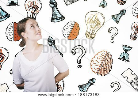 Portrait of cheerful young woman on white background with creative pattern. Brainstorm concept