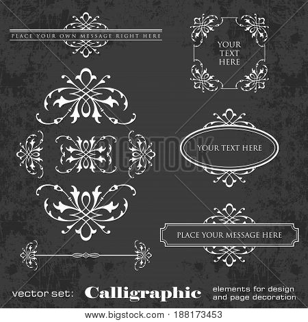 Calligraphic elements for design and page decoration on a chalkboard background - vector set