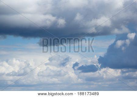 White cumulus clouds are on a blue sky