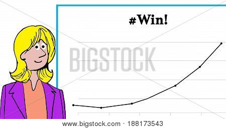 Business cartoon illustration showing a smiling woman and a chart with increasing sales, '#Win!'.