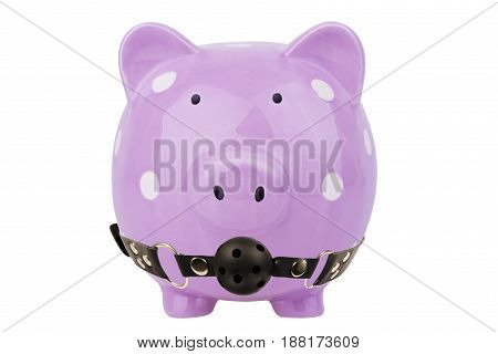 Piggy bank with ball gag isolated on white background. Savings concept.