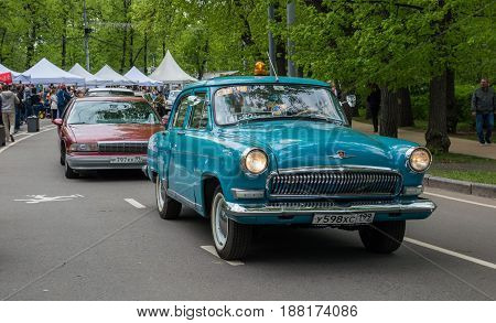 MOSCOW, RUSSIA - May 21, 2017. Retro car show exhibion in Sokolniki park. Parade of the soviet and american classic cars