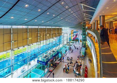 HONG KONG CHINA - APRIL 25: This is a view of Hong Kong station in the downtown area where many travelers come to take the airport express train from on April 25 2017 in Hong Kong