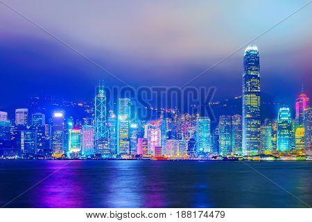 View of Hong kong Island financial district at night