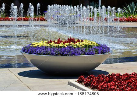 Contemporary style gardens with water fountains and manicured flowers