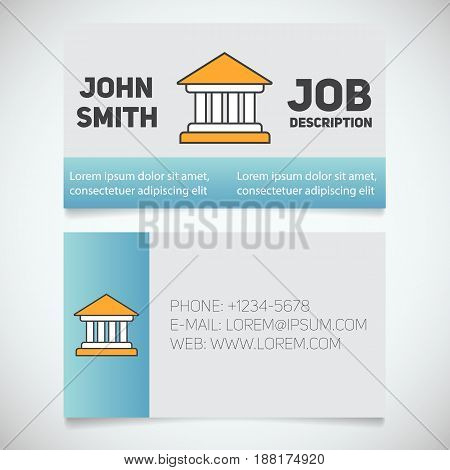 Business card print template with courthouse logo. Bank building. Lawyer. Advocate. Judge. Banker. Stationery design concept. Vector illustration