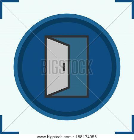 Open door color icon. Building exit. Doorway. Isolated vector illustration