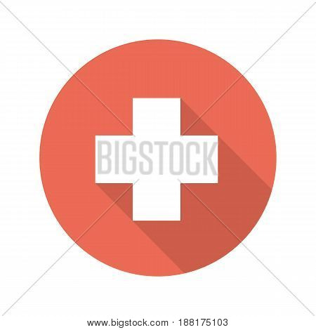 Medical cross flat design long shadow icon. Vector silhouette symbol