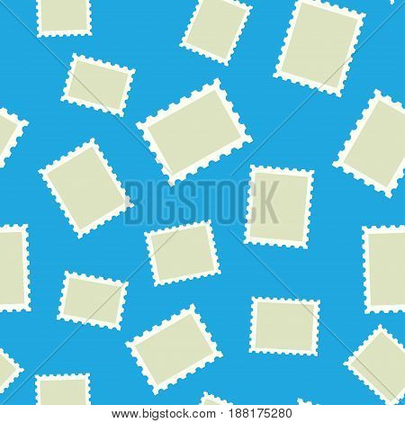Seamless vector pattern of post stamp on a blue background. illustration vector