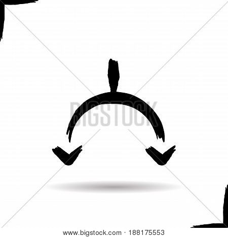 Two connected facing down arrows. Drop shadow symbol. Ink brush stroke icon. Vector isolated illustration