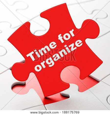 Timeline concept: Time For Organize on Red puzzle pieces background, 3D rendering