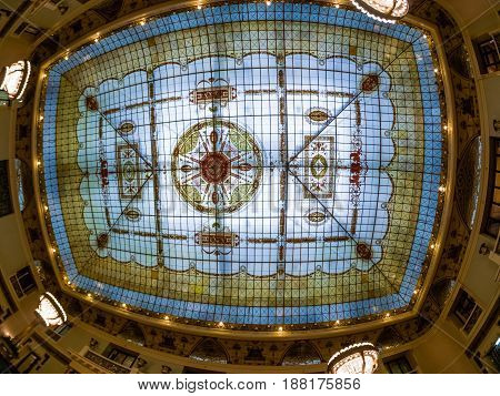 MOSCOW RUSSIA - APRIL 27 2017: Stained-glass ceiling roof of Metropol hotel main restaurant in Moscow Russia on April 27 2017. Hotel was built in 1899-1907 in Art Nouveau style.