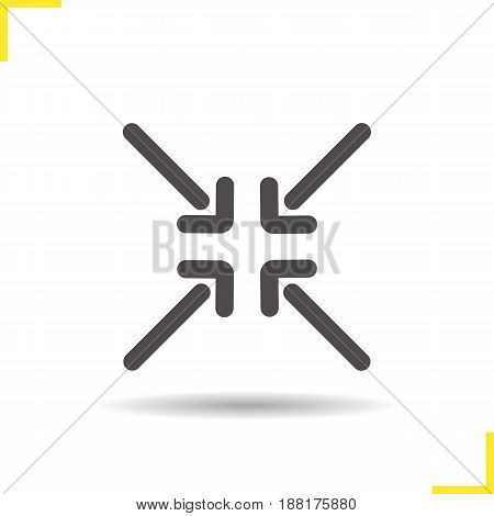 4 arrows aiming to the center glyph icon. Drop shadow silhouette symbol. Direction arrows. Negative space. Vector isolated illustration