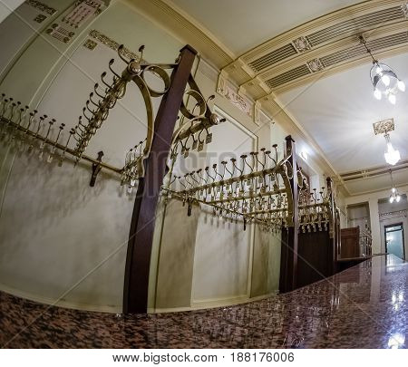 MOSCOW RUSSIA - APRIL 27 2017: Coat rack in Metropol hotel in Moscow Russia on April 27 2017. Hotel was built in 1899-1907 in Art Nouveau style.