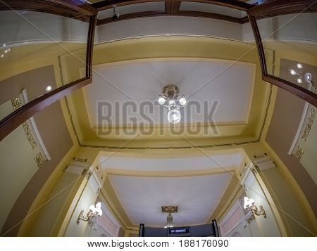 MOSCOW RUSSIA - APRIL 27 2017: Ceiling design interior in Metropol hotel in Moscow Russia on April 27 2017. Hotel was built in 1899-1907 in Art Nouveau style.
