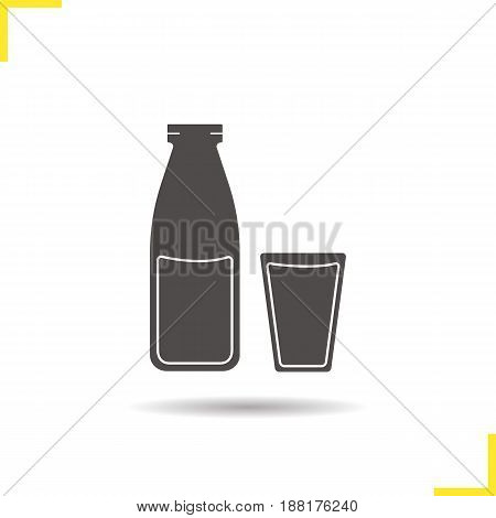 Milk bottle and glass glyph icon. Drop shadow water silhouette symbol. Juice. Negative space. Vector isolated illustration