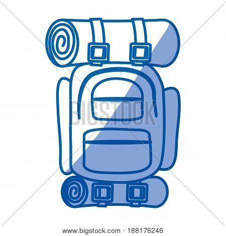 blue shading silhouette of camping backpack vector illustration