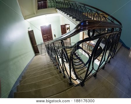 MOSCOW RUSSIA - APRIL 27 2017: Interior decorative staircase in Metropol hotel in Moscow Russia on April 27 2017. Hotel was built in 1899-1907 in Art Nouveau style.