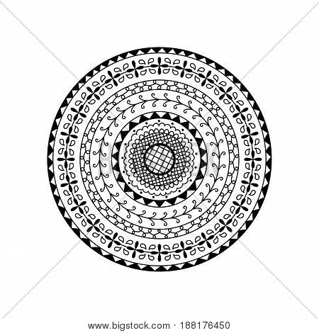 Vector round mandala. Ethnic decorative ornament. Coloring page book anti stress for adult
