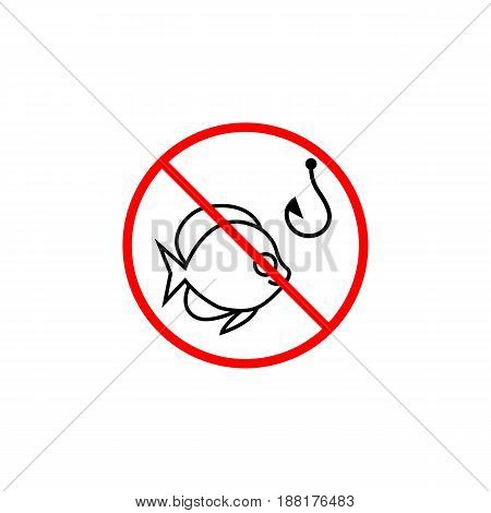 No fishing line icon, prohibition sign, forbidden, fish and hook, vector graphics, a linear pattern red on a white background, eps 10.