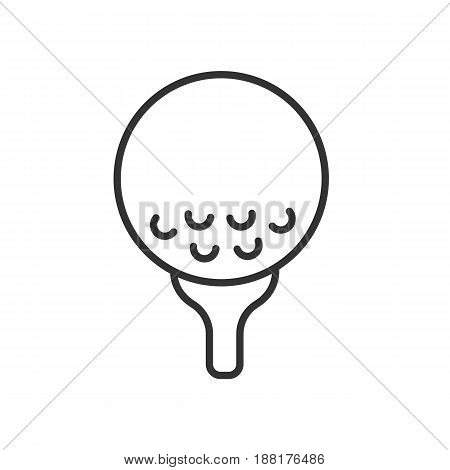 Golf ball on tee linear icon. Thin line illustration. Contour symbol. Vector isolated outline drawing