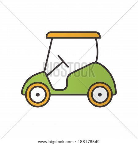 Golf cart color icon. Isolated vector illustration