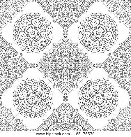 seamless pattern of black and white mandala. Line art background