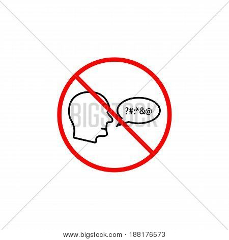 No swearing line icon, prohibition sign, forbidden and stop, vector graphics, a linear pattern red on a white background, eps 10.
