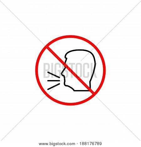 Keep quiet line icon, no speak prohibition sign, forbidden keep silence, vector graphics, a linear pattern red on a white background, eps 10.