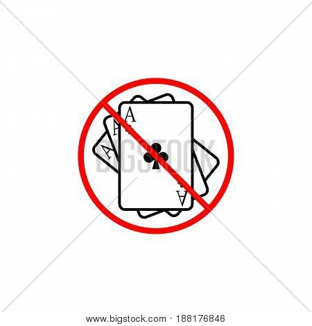 No gambling line icon, prohibition sign, forbidden ban or stop, vector graphics, a linear pattern red on a white background, eps 10.