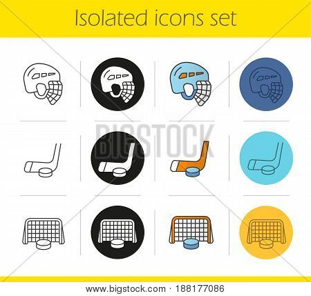 Ice hockey icons set. Linear, black and color styles. Helmet, puck in gates, stick. Isolated vector illustrations