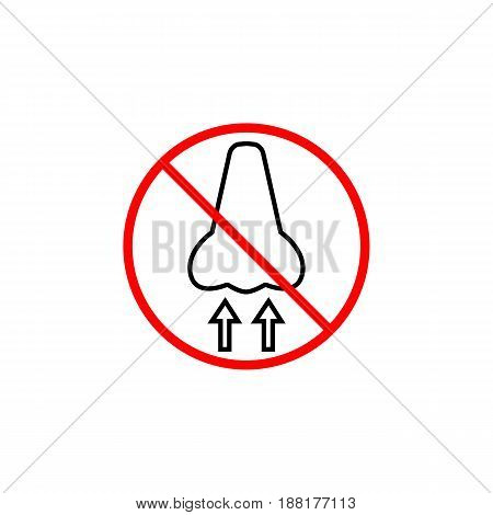 Do not breathe line icon, prohibition sign, forbidden dust hazard, vector graphics, a linear pattern red on a white background, eps 10.