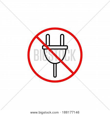 Do not plug line icon, prohibition sign, forbidden don't connect, vector graphics, a linear pattern red on a white background, eps 10.