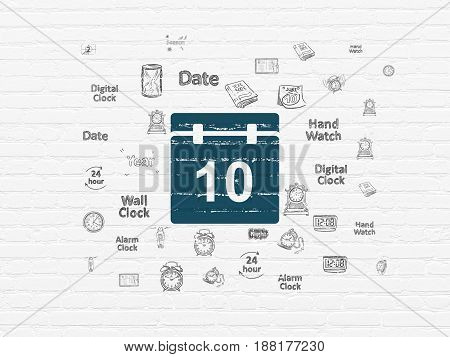 Time concept: Painted blue Calendar icon on White Brick wall background with  Hand Drawing Time Icons