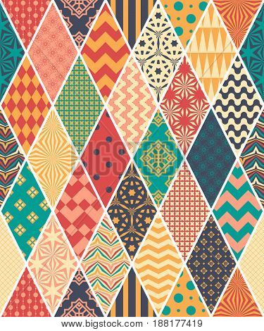 Seamless pattern in style of patchwork. Vector illustration. Background in rustic style.