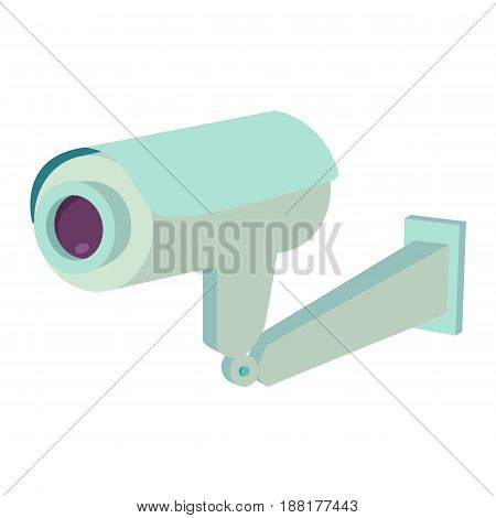 Video surveillance security camera flat icon isolated vector illustration.