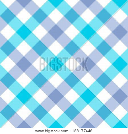texture of fabrics in blue and purple cage. Seamless background. Vector image.