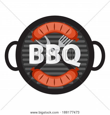 BBQ Icon with Grill Tools and Sausage. Vector Illustration EPS10