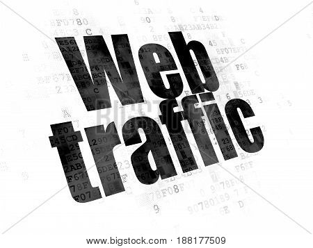 Web design concept: Pixelated black text Web Traffic on Digital background