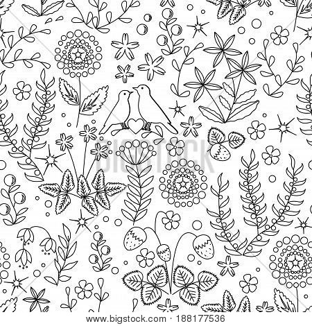 Floral seamless pattern with flowers, leaves, and bird nest.