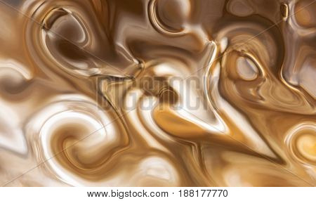Extreme close up of brown caramel and white color swirls of a vintage glass door knob